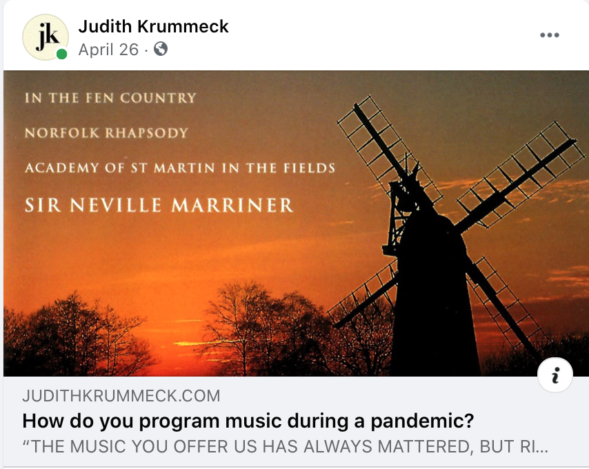 "Facebook post of a link to a website, headline reads, ""How do you program music during a pandemic?"""