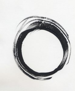 Painted black circle on white canvas