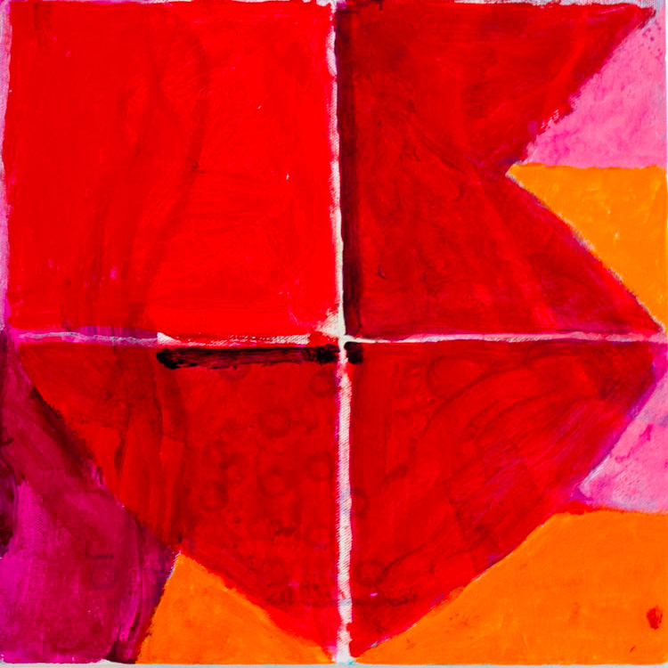 Detail of a painting. Geometric shapes in red, orange and pink