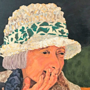 Painting of elderly woman, hiding a smirk with her hand
